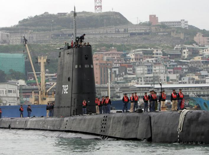 A Dutch-made submarine docks in a military port in Taiwan's northern city of Keelung, November 24, 2005. Taiwan's military is seeking public support to buy eight submarines, which are part of an arms package offered by Washington, to beef up the island's