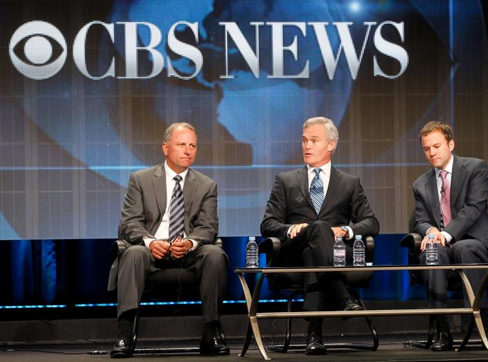 Jeff Fager (L), chairman CBS News and executive producer '60 Minutes', Scott Pelley, anchor and managing editor CBS Evening News and David Rhodes (R) president CBS News, speak...in Beverly Hills, California August 3, 2011. REUTERS/Fred Prouser