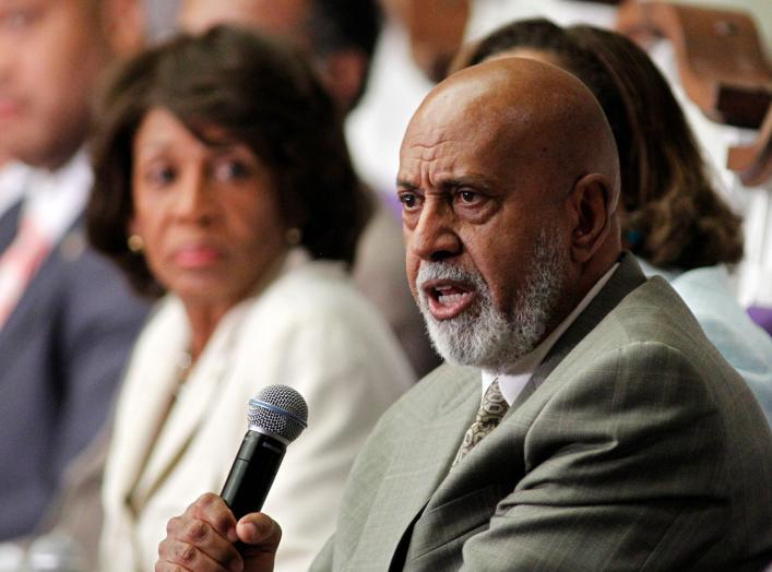 U.S. Rep. Alcee Hastings (R) of Florida speaks at a U.S. Congressional Black Caucus 'Town Meeting' at Mt. Hermon AME church in Miami Gardens, Florida August 22, 2011, as U.S. Rep. Maxine Waters of California watches. REUTERS/Joe Skipper