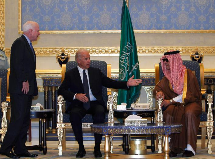 October 27, 2011. Biden led an American delegation to offer his condolences on the death of late Saudi Crown Prince Sultan bin Abdul-Aziz Al Saud. REUTERS/Fahad Shadeed