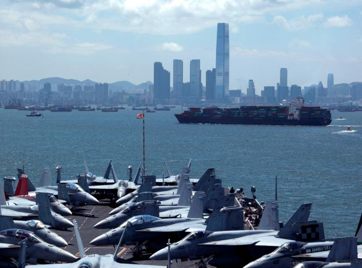 Fighter jets are seen on the deck of U.S. carrier USS George Washington as it stations off Hong Kong waters during a routine port visit to the territory July 10, 2012. REUTERS/Bobby Yip