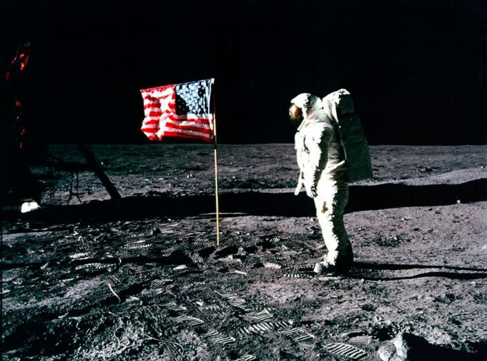 United States astronaut Buzz Aldrin salutes the American flag on the surface of the Moon after he and fellow astronaut Neil Armstrong became the first men to land on the Moon during the Apollo 11 space mission July 20, 1969. July 20, 2012 marks the 43rd a