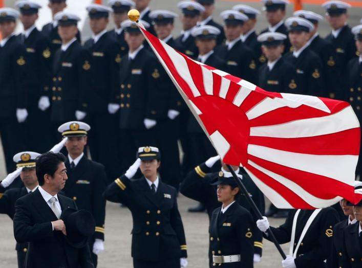 Japan's Prime Minister Shinzo Abe (L) reviews members of Japan Self-Defense Force (JSDF) during the JSDF Air Review, to celebrate 60 years since the service's founding at Hyakuri air base in Omitama, northeast of Tokyo October 26, 2014. About 740 personne