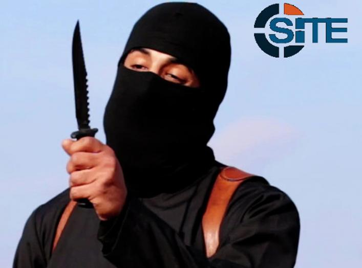 A masked, black-clad militant, who has been identified by the Washington Post newspaper as a Briton named Mohammed Emwazi, brandishes a knife in this still image from a 2014 video obtained from SITE Intel Group February 26, 2015.