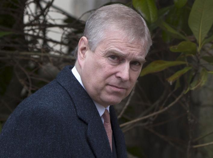 Britain's Prince Andrew leaves after attending the Easter Sunday service at St Georges Chapel at Windsor Castle in southern England April 5, 2015. REUTERS/Neil Hall