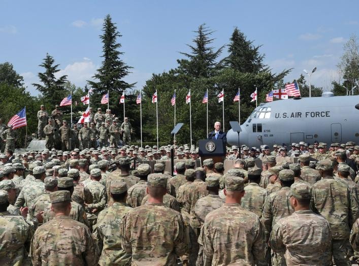U.S. Vice President Mike Pence delivers a speech during a meeting with U.S. troops taking part in NATO led joint military exercises Noble Partner 2017 at the Vaziani military base near Tbilisi, Georgia August 1, 2017. REUTERS/Irakli Gedenidze
