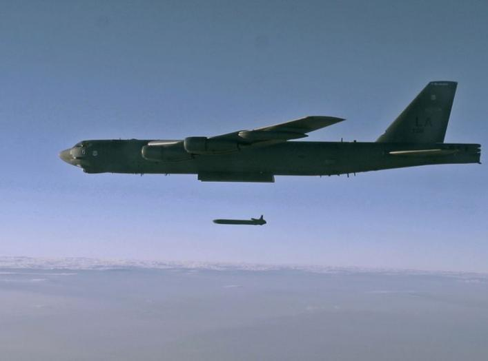 An unarmed AGM-86B Air-Launched Cruise Missile is released from a B-52H Stratofortress over the Utah Test and Training Range during a Nuclear Weapons System Evaluation Program sortie, 80miles west of Salt Lake City, Utah, U.S., September 22, 2014. Picture