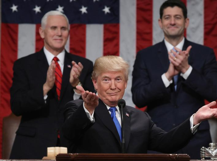 U.S. President Donald Trump delivers his first State of the Union address to a joint session of Congress inside the House Chamber on Capitol Hill in Washington, U.S., January 30, 2018. REUTERS/Win McNamee/Pool