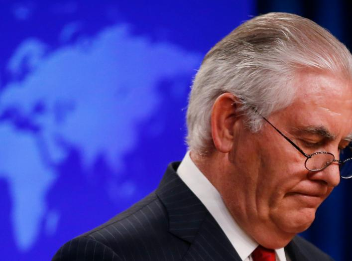 U.S. Secretary of State Rex Tillerson speaks to the media at the U.S. State Department after being fired by President Donald Trump in Washington, U.S., March 13, 2018. REUTERS/Leah Millis