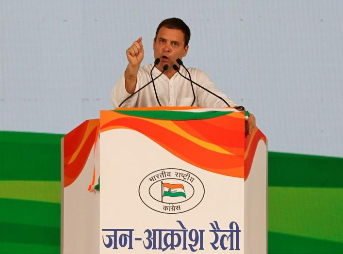 Rahul Gandhi, President of India's main opposition Congress party, addresses his supporters during a rally described as Jan Aakrosh or public anger at Ramlila ground in New Delhi, India, April 29, 2018. REUTERS/Altaf Hussain