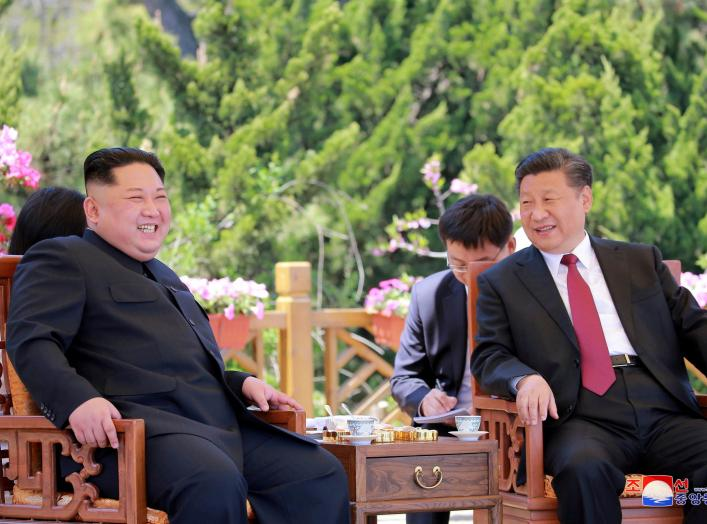 North Korean leader Kim Jong Un meets with China's President Xi Jinping, in Dalian, China in this undated photo released on May 9, 2018 by North Korea's Korean Central News Agency (KCNA). KCNA/via REUTERS ATTENTION EDITORS - THIS PICTURE WAS PROVIDED BY A