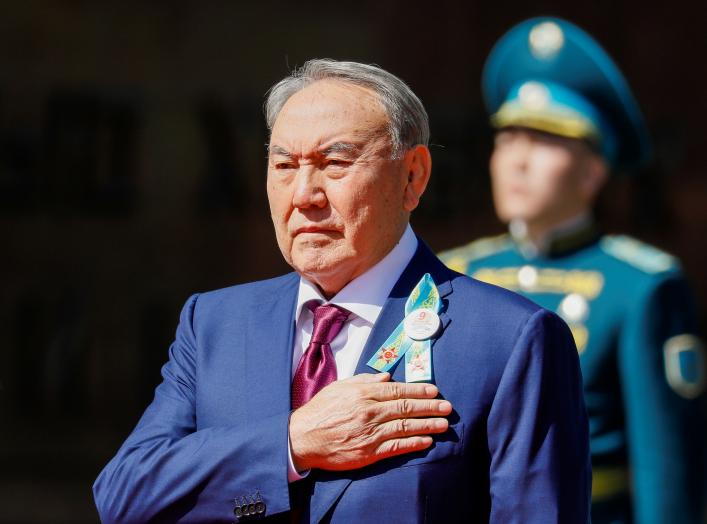 Kazakhstan's President Nursultan Nazarbayev listens to the national anthem on the Victory Day commemorations in Almaty, Kazakhstan May 9, 2018. REUTERS/Shamil Zhumatov