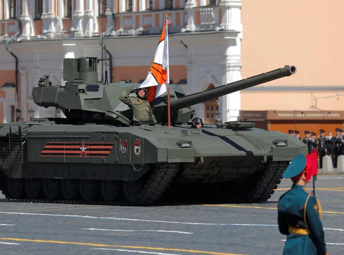 Russian servicemen drive a T-14 Armata tank during the Victory Day parade, marking the 73rd anniversary of the victory over Nazi Germany in World War Two, at Red Square in Moscow, Russia May 9, 2018. REUTERS/Maxim Shemetov