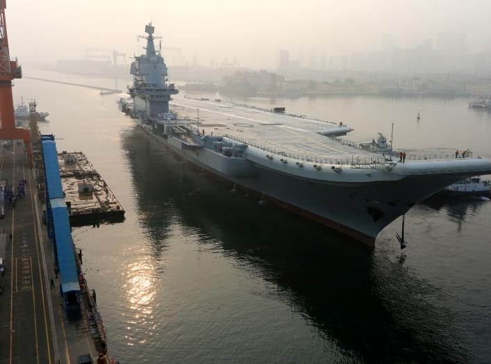 China's first domestically developed aircraft carrier departs Dalian, Liaoning province, China May 13, 2018. REUTERS/Stringer ATTENTION EDITORS - THIS IMAGE WAS PROVIDED BY A THIRD PARTY. CHINA OUT. TPX IMAGES OF THE DAY