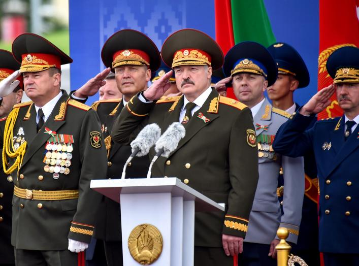 Belarussian President Alexander Lukashenko salutes during a military parade marking the Independence Day in Minsk, Belarus July 3, 2018. Sergei Gapon/Pool via REUTERS