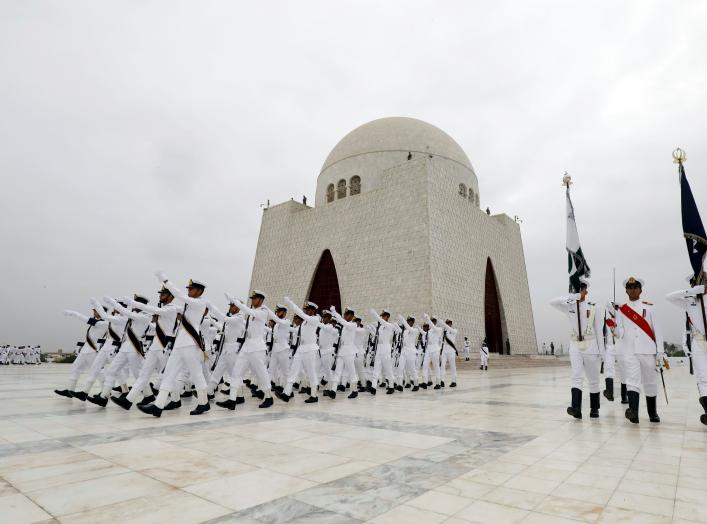 Members of the Pakistan's Naval force march during a ceremony to celebrate the country's 71st Independence Day at the mausoleum of Muhammad Ali Jinnah in Karachi, Pakistan August 14, 2018. REUTERS/Akhtar Soomro