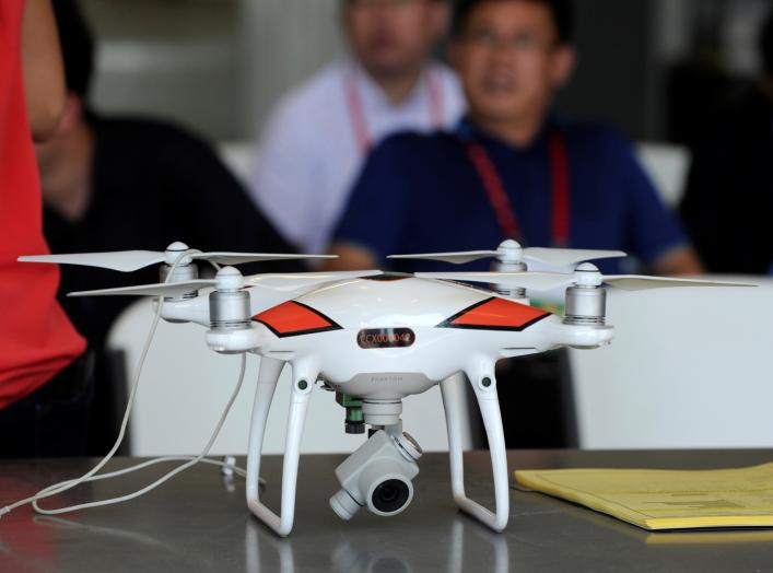 A video drone that helps the Kaiser Farm control their crops is seen on display during a Chinese trade delegation visit a farm near Norborne, Missouri, U.S., August 28, 2018. Picture taken August 28, 2018. REUTERS/Dave Kaup