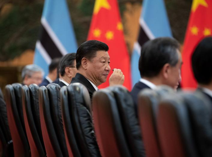 China's President Xi Jinping (C) attends the bilateral meeting with President of Botswana Mokgweetsi Masisi (not pictured) at the Great Hall of the People in Beijing, China, 31 August 2018. Roman Pilipey/Pool via Reuters