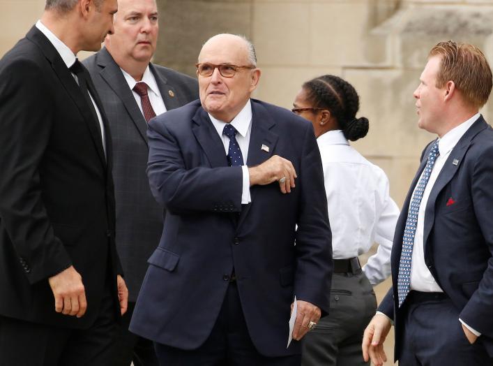Rudy Giuliani arrives for the memorial service of U.S. Senator John McCain (R-AZ) at National Cathedral in Washington, U.S., September 1, 2018. REUTERS/Joshua Roberts