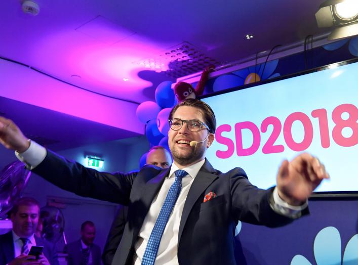 Sweden Democrats party leader Jimmie Akesson speaks on election evening at Kristallen restaurant in central Stockholm, Sweden September 9, 2018. TT News Agency/Anders Wiklund/via REUTERS