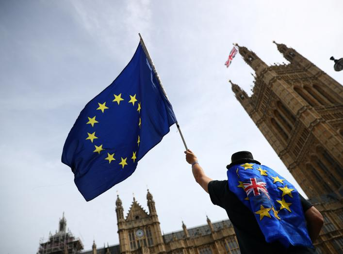 An anti-Brexit demonstrator waves flags outside the Houses of Parliament, in London, Britain, September 10, 2018. REUTERS/Hannah McKay
