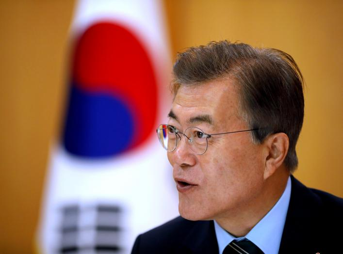 South Korean President Moon Jae-in speaks during an interview with Reuters at the Presidential Blue House in Seoul, South Korea June 22, 2017. REUTERS/Kim Hong-Ji/File Photo