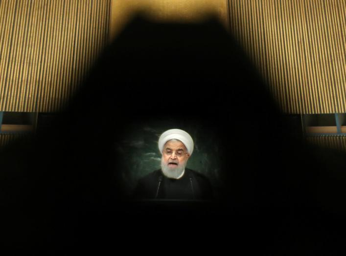 Iran's President Hassan Rouhani is seen through a camera eyepiece as he addresses the 73rd session of the United Nations General Assembly at U.N. headquarters in New York, U.S., September 25, 2018. REUTERS/Carlo Allegri