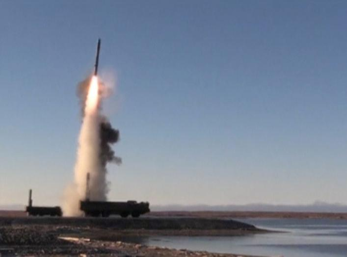 A still image taken from a video footage and released by Russia's Defence Ministry on September 26, 2018, shows the launch by Bastion coastal defence system of a supersonic anti-ship Oniks missile during tactical drills by North Navy Fleet at Kotelny Isla