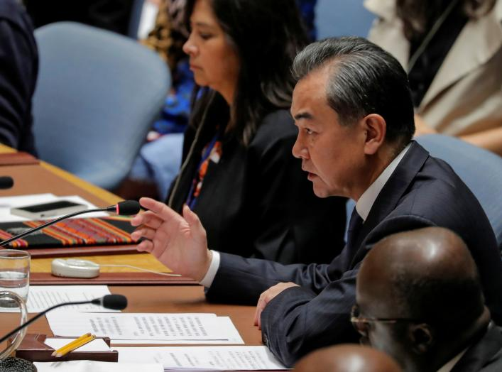 Chinese Foreign Minister Wang Yi speaks during a meeting of the United Nations Security Council held during the 73rd session of the United Nations General Assembly at U.N. headquarters in New York, U.S., September 27, 2018. REUTERS/Brendan McDermid