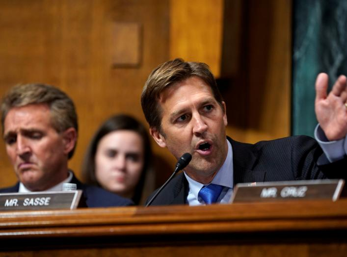 Sen. Ben Sasse questions Supreme Court nominee Brett Kavanaugh as he testifies before the Senate Judiciary Committee on Capitol Hill in Washington, DC, U.S., September 27, 2018. Andrew Harnik/Pool via REUTERS