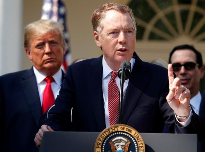 U.S. Trade Representative Robert Lighthizer discusses the United States-Mexico-Canada Agreement (USMCA) as U.S. President Donald Trump and U.S. Treasury Secretary Steven Mnuchin look on during a news conference in the Rose Garden of the White House in Was