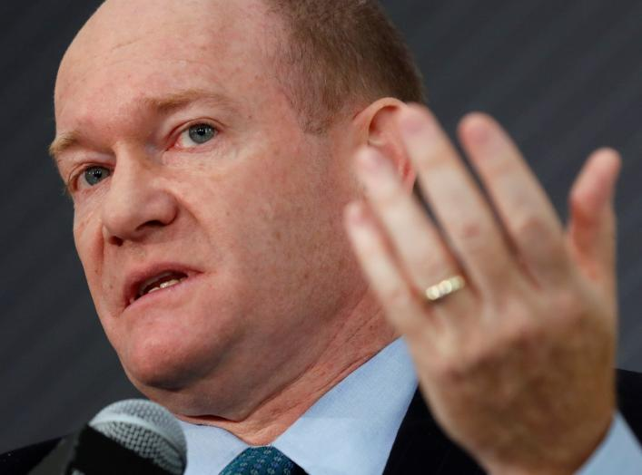 "U.S. Senator Chris Coons (D-DE) discusses ""Can our Democracy Survive?"" during The Atlantic and the Aspen Institute's 2018 Atlantic Festival in Washington, U.S., October 2, 2018. REUTERS/Kevin Lamarque"