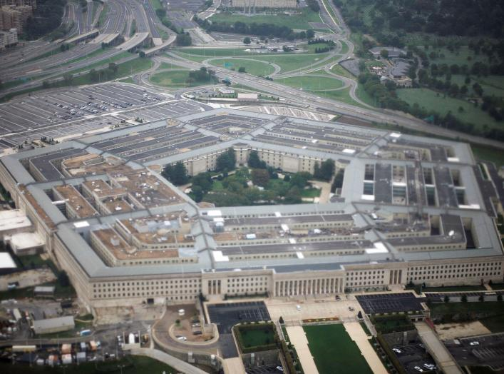 FILE PHOTO: Aerial view of the United States military headquarters, the Pentagon, September 28, 2008. REUTERS/Jason Reed/File Photo