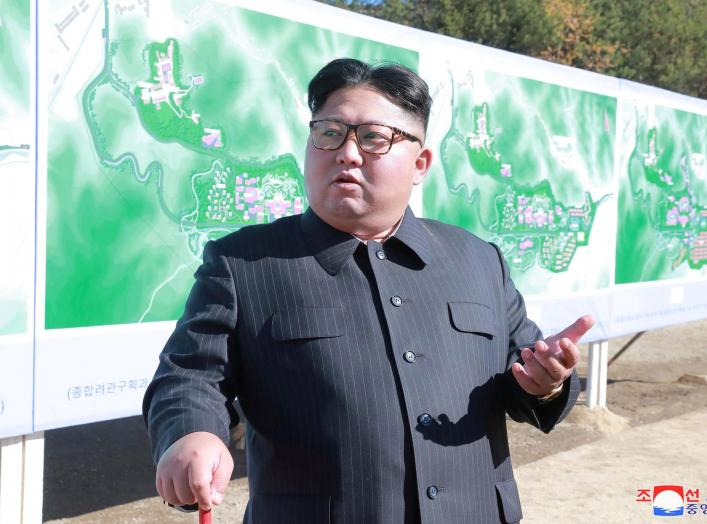 FILE PHOTO North Korean leader Kim Jong Un inspects a construction site in Yangdeok, in this undated photo released on October 31, 2018 by North Korea's Korean Central News Agency (KCNA). KCNA/File Photo via REUTERS. ATTENTION EDITORS - THIS IMAGE WAS PRO