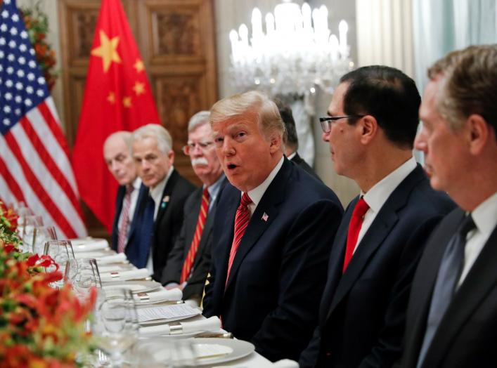 U.S. President Donald Trump, U.S. President Donald Trump's national security adviser John Bolton, U.S. Treasury Secretary Steven Mnuchin attend a working dinner with Chinese President Xi Jinping after the G20 leaders summit in Buenos Aires, Argentina Dece