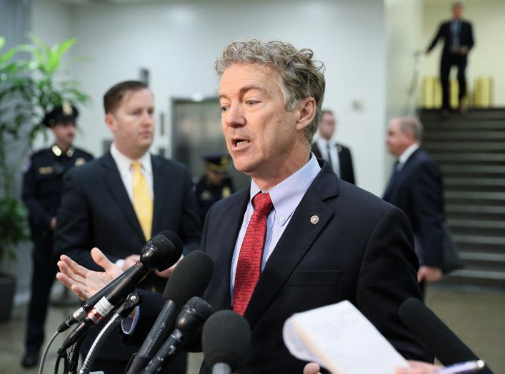 U.S. Senator Rand Paul (R-KY) speaks to reporters outside of attending a closed-door briefing, on the death of the journalist Jamal Khashoggi, by Central Intelligence Agency (CIA) Director Gina Haspel at the U.S. Capitol in Washington, U.S.