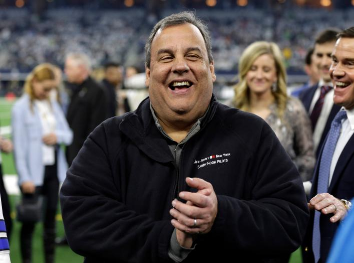 Jan 5, 2019; Arlington, TX, USA; American politician Chris Christie on the sidelines before the game between the Seattle Seahawks and the Dallas Cowboys in a NFC Wild Card playoff football game at AT&T Stadium. Mandatory Credit: Tim Heitman-USA TODAY Spor