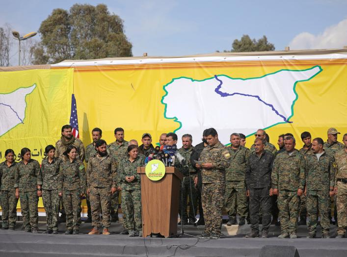 Mazloum Kobani, Syrian Democratic Forces' (SDF) commander in chief, talks as he announces the destruction of Islamic State's control of land in eastern Syria, at al-Omar oil field in Deir Al Zor, Syria March 23, 2019.