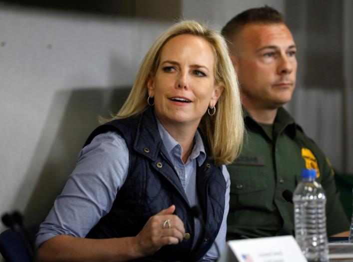 Homeland Security Secretary Kirstjen Nielsen speaks during a border security briefing held for U.S. President Donald Trump near the US-Mexico border in El Centro, California, U.S., April 5, 2019. Picture taken April 5, 2019. REUTERS/Kevin Lamarque