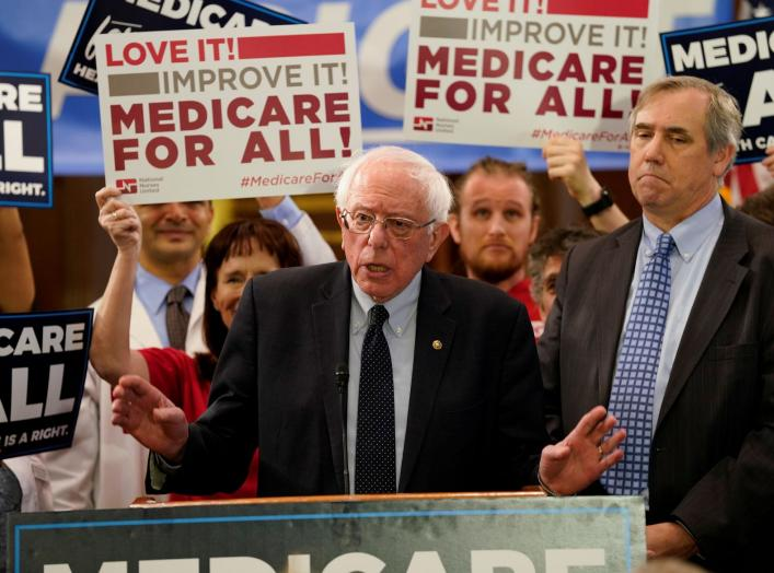 "Democratic U.S. presidential candidate U.S. Sen. Bernie Sanders (I-VT) speaks at a news conference to introduce the ""Medicare for All Act of 2019"" on Capitol Hill in Washington, U.S., April 10, 2019. REUTERS/Aaron P. Bernstein"