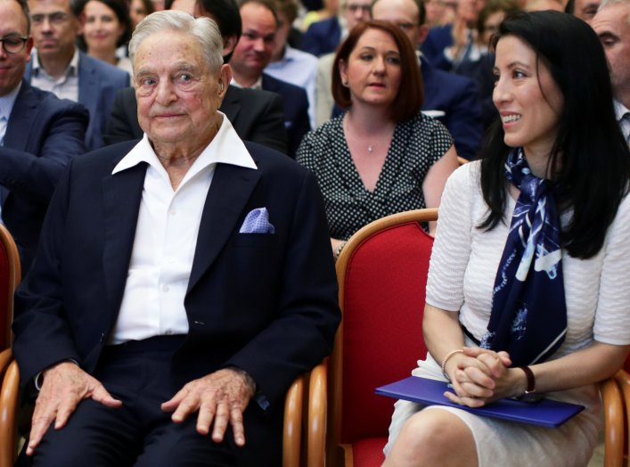 Billionaire investor George Soros and his wife Tamiko Bolton attend the Schumpeter Award in Vienna, Austria June 21, 2019. REUTERS/Lisi Niesner