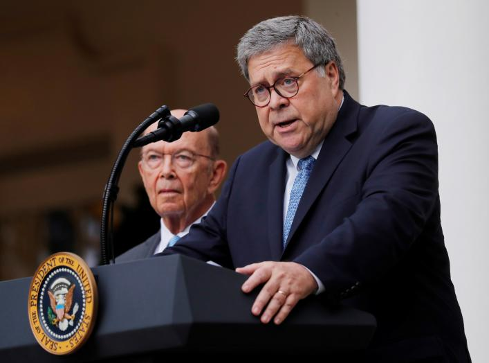 U.S. Attorney General Bill Barr describes the Trump administration's effort to gain citizenship data during the 2020 census as Commerce Secretary Wilbur Ross stands at his side during an event with the president in the Rose Garden of the White House