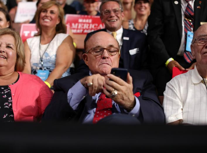 Former New York City Mayor Rudy Giuliani attends U.S. President Donald Trump's rally with supporters in Manchester, New Hampshire, U.S. August 15, 2019. REUTERS/Jonathan Ernst