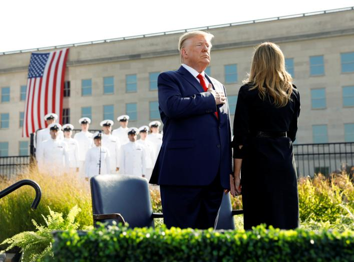 U.S. President Donald Trump and first lady Melania Trump attend a ceremony marking the 18th anniversary of September 11 attacks at the Pentagon in Arlington, Virginia, U.S., September 11, 2019. REUTERS/Kevin Lamarque
