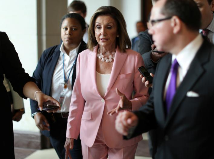 U.S. House Speaker Nancy Pelosi (D-CA) speaks with reporters following her weekly news conference on Capitol Hill in Washington, U.S. September 12, 2019. REUTERS/Jonathan Ernst