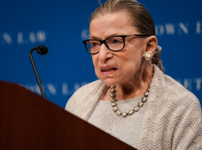 U.S. Supreme Court Justice Ruth Bader Ginsburg delivers remarks during a discussion hosted by the Georgetown University Law Center in Washington, D.C., U.S., September 12, 2019. REUTERS/Sarah Silbiger.