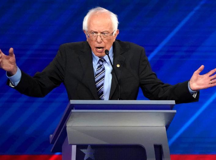 Senator Bernie Sanders speaks during the 2020 Democratic U.S. presidential debate in Houston, Texas, U.S. September 12, 2019. REUTERS/Mike Blake