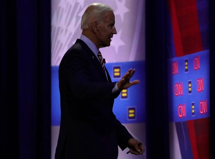 Democratic 2020 U.S. presidential candidate and former Vice President Joe Biden walks during a televised townhall on CNN dedicated to LGBTQ issues in Los Angeles, California, U.S. October 10, 2019. REUTERS/Mike Blake