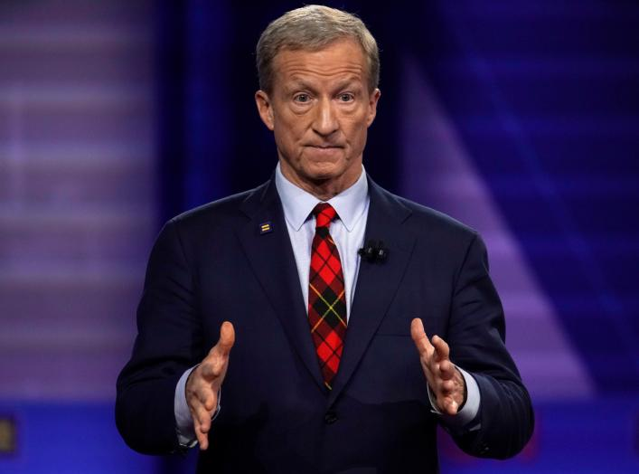 Democratic 2020 U.S. presidential candidate Tom Steyer gestures during a televised townhall on CNN dedicated to LGBTQ issues in Los Angeles, California, U.S. October 10, 2019. REUTERS/Mike Blake