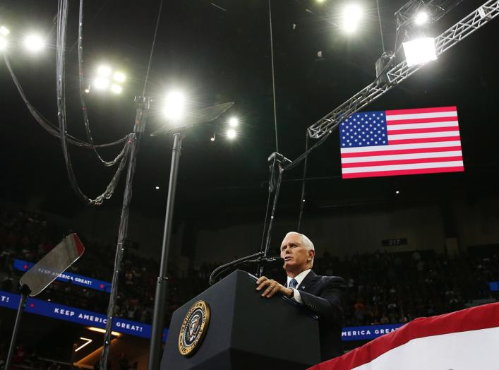 U.S. Vice President Mike Pence speaks at a campaign rally held by U.S. President Donald Trump in Minneapolis, Minnesota, U.S., October 10, 2019. REUTERS/Leah Millis